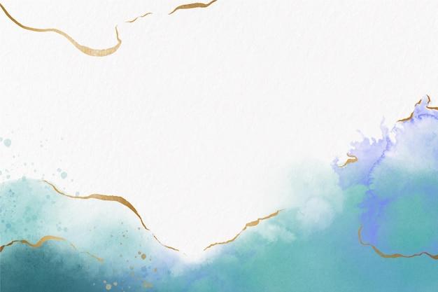 Papel de parede aquarela com folha dourada Vetor grátis