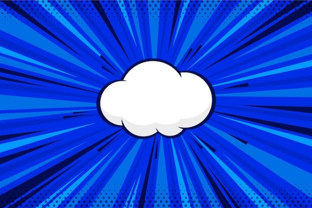 Papel de parede azul liso em quadrinhos com bolha de bate-papo Vetor grátis