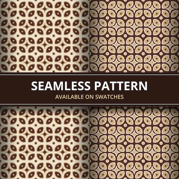 Papel de parede clássico do fundo sem emenda tradicional do teste padrão do batik. forma geométrica elegante. pano de fundo étnico de luxo na cor marrom Vetor Premium
