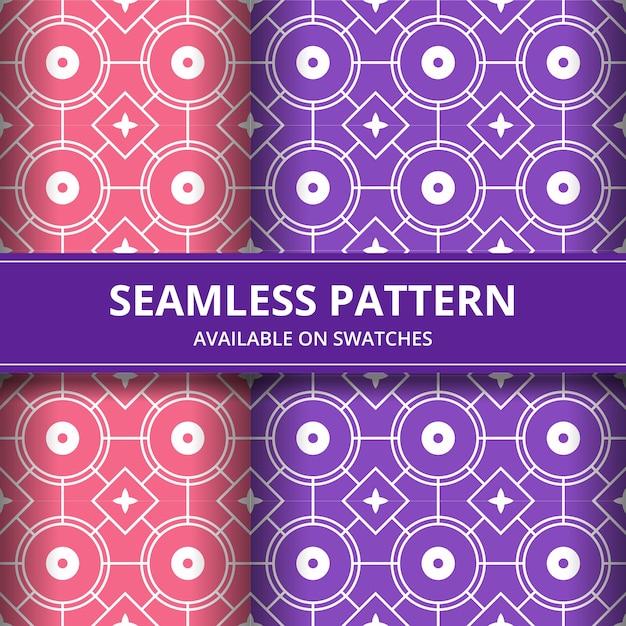 Papel de parede clássico do fundo sem emenda tradicional do teste padrão do batik. forma geométrica elegante. pano de fundo étnico de luxo na cor rosa e roxo Vetor Premium