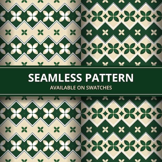 Papel de parede clássico do fundo sem emenda tradicional do teste padrão do batik. forma geométrica elegante. pano de fundo étnico de luxo na cor verde Vetor Premium