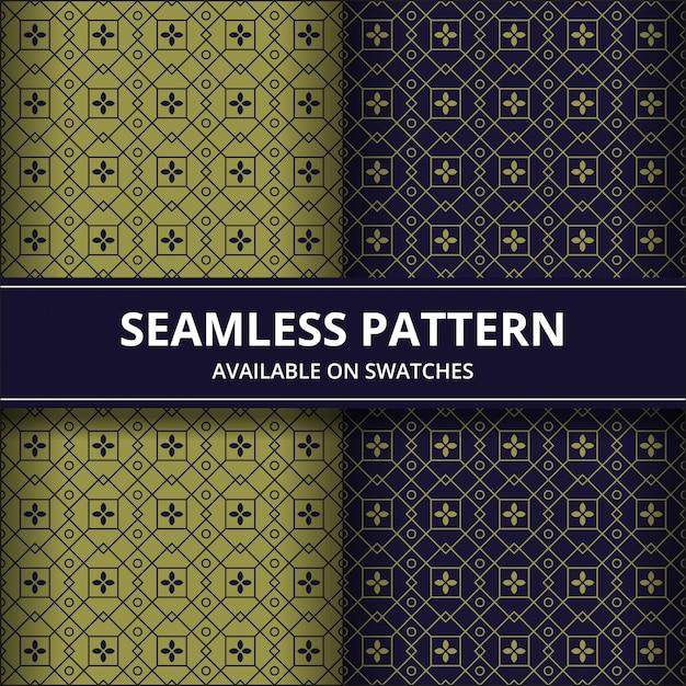 Papel de parede clássico do fundo sem emenda tradicional do teste padrão do batik. forma geométrica elegante. pano de fundo étnico de luxo nas cores ouro e marinha Vetor Premium
