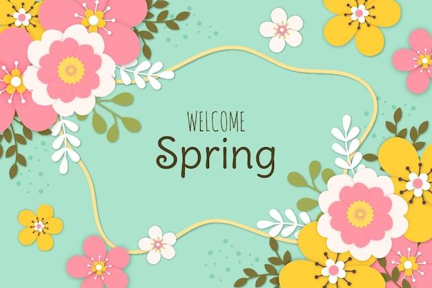 Papel de parede colorido primavera em estilo de jornal Vetor grátis