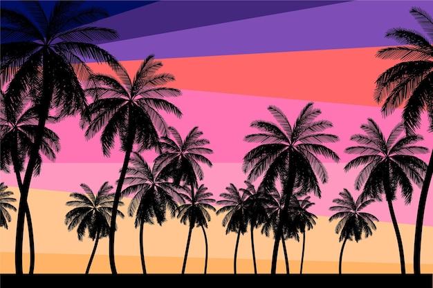 Papel de parede colorido silhuetas palm Vetor grátis
