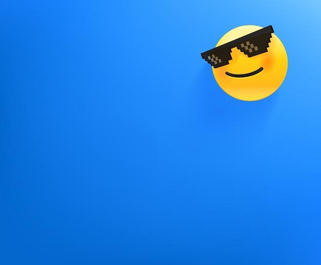 Papel de parede com emoji sorridente. fundo com espaço de cópia Vetor Premium