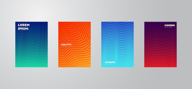 Papel de parede composição de formas gradiente na moda Vetor Premium