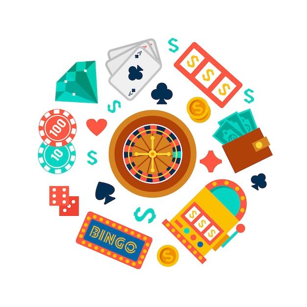 Papel de parede de cassino com elementos de pôquer Vetor grátis