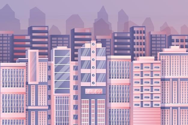 Papel de parede de cidade urbana para videoconferência Vetor grátis