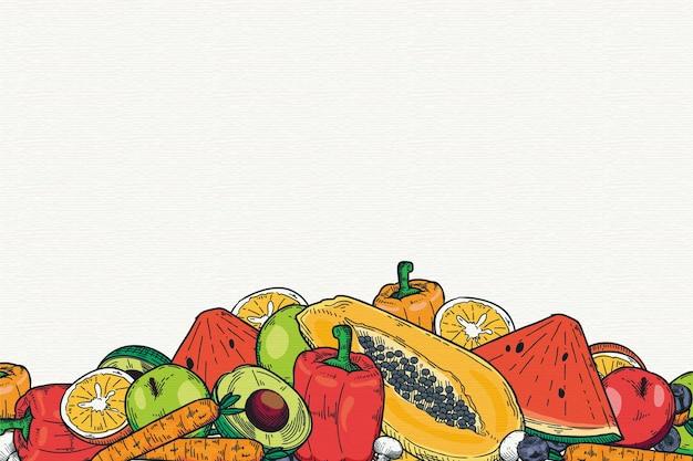 Papel de parede de frutas e legumes Vetor grátis