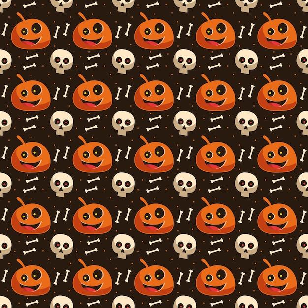 Papel de parede de fundo padrão sem emenda de halloween com crânio de abóbora e elemento de esqueleto ósseo Vetor Premium