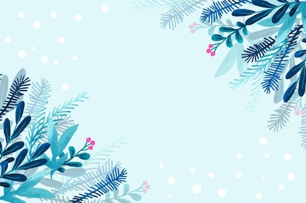 Papel de parede de inverno feito com aquarela Vetor Premium