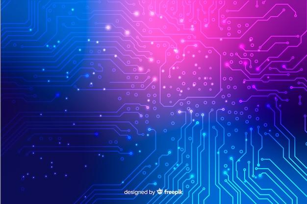 Papel de parede de placa de circuito de néon Vetor grátis