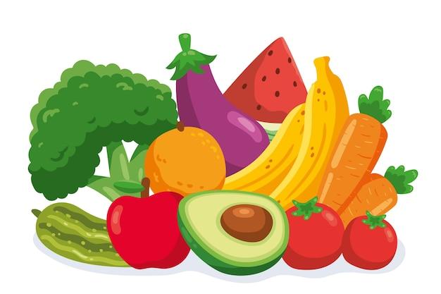Papel de parede de várias frutas e legumes Vetor grátis