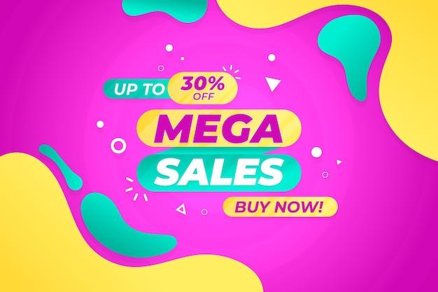 Papel de parede de vendas com elementos abstratos coloridos Vetor grátis