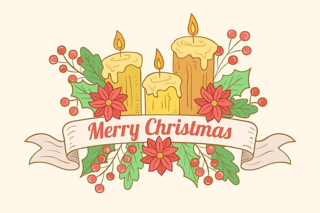 Papel de parede desenhado à mão vela de natal Vetor grátis