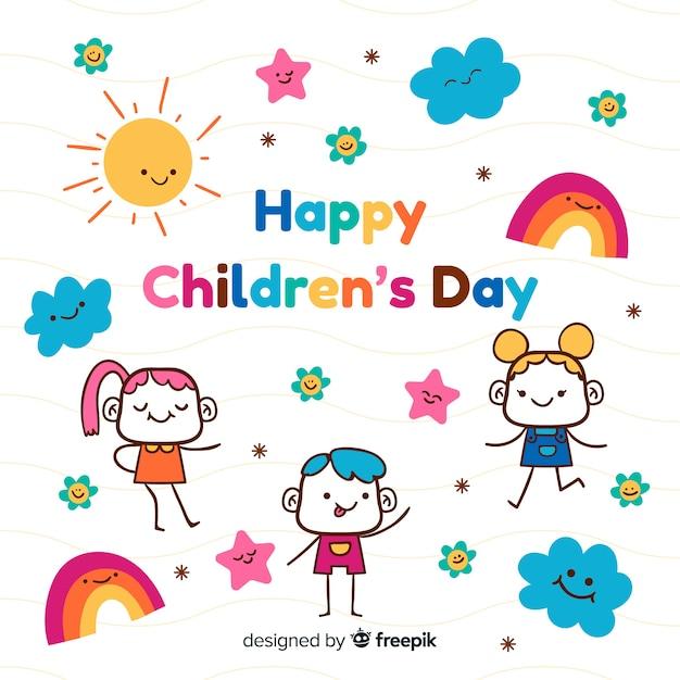 Papel de parede desenhado mão do dia das crianças Vetor grátis