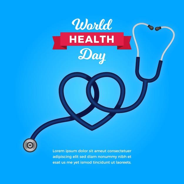 Papel de parede do dia da saúde com estetoscópio Vetor Premium