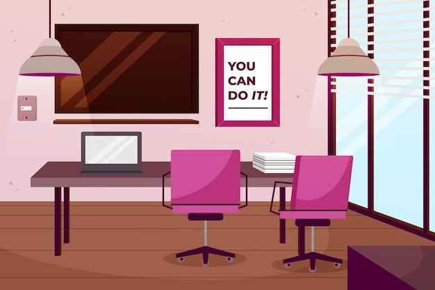 Papel de parede do escritório para videoconferência Vetor grátis