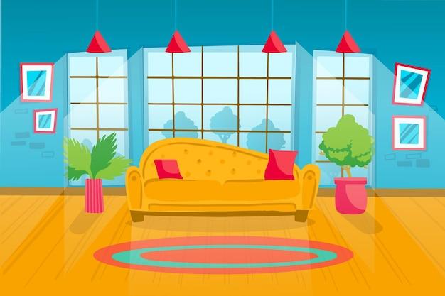 Papel de parede do interior da casa para videoconferência Vetor grátis