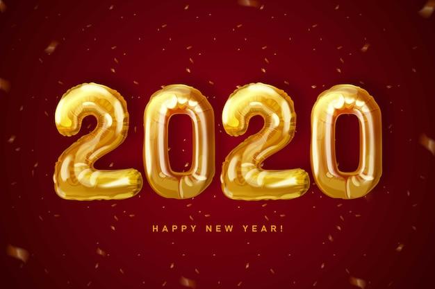 Papel de parede do relógio do ano novo 2020 Vetor grátis