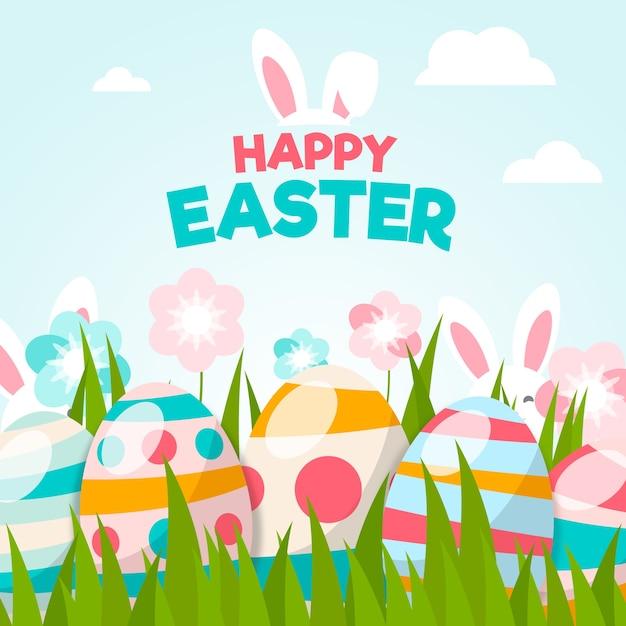 Papel de parede feliz dia de páscoa design plano com ovos Vetor grátis
