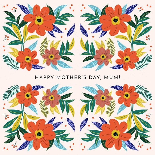 Papel de parede floral do dia das mães Vetor grátis