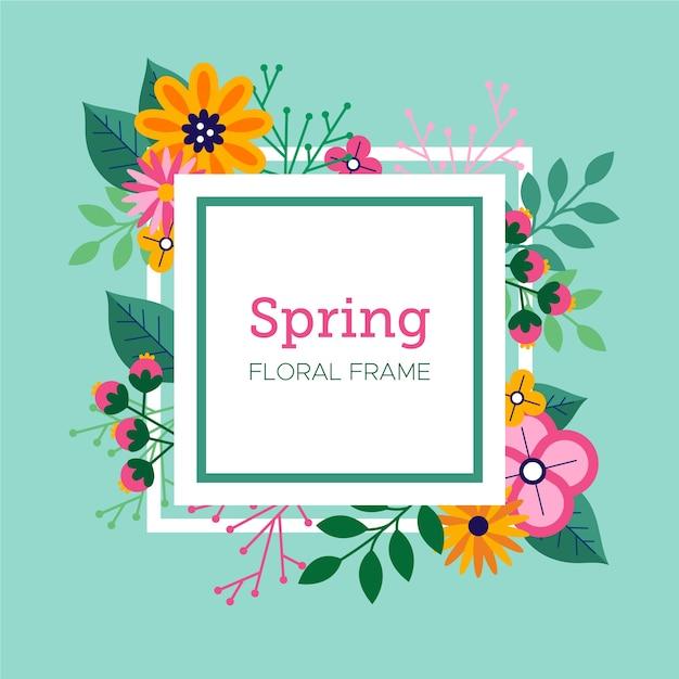 Papel de parede floral frame primavera design plano Vetor grátis