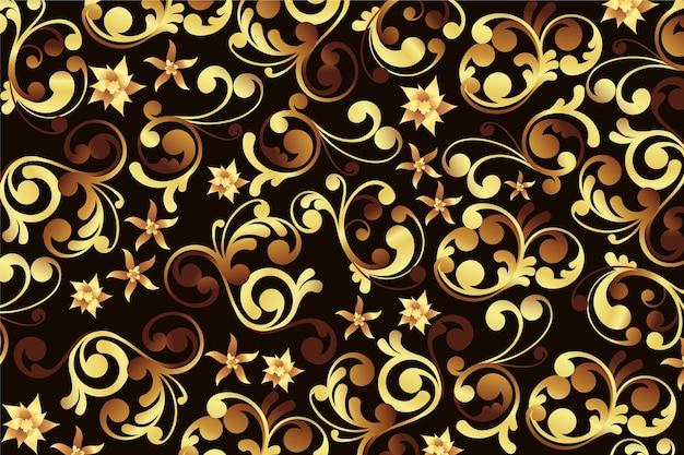Papel de parede floral ornamental dourado Vetor grátis