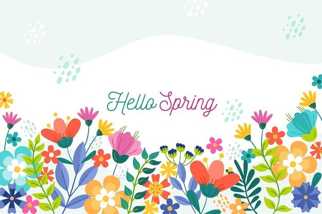 Papel de parede floral primavera com saudação Vetor grátis
