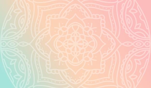 Papel de parede gradiente rosa sonhador pêssego com padrão de mandala Vetor Premium