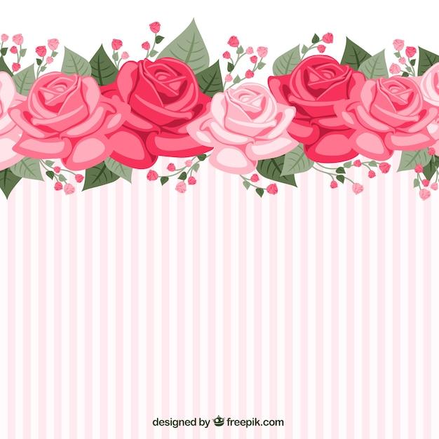 Papel de parede listrado com rosas baixar vetores gr tis for Rosas de decoracion