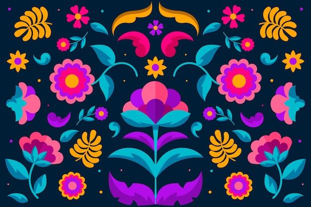Papel de parede mexicano colorido com ornamentos florais Vetor grátis