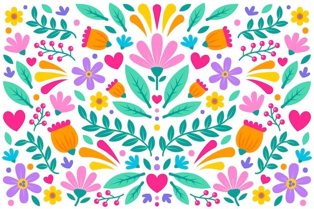 Papel de parede mexicano floral colorido Vetor grátis