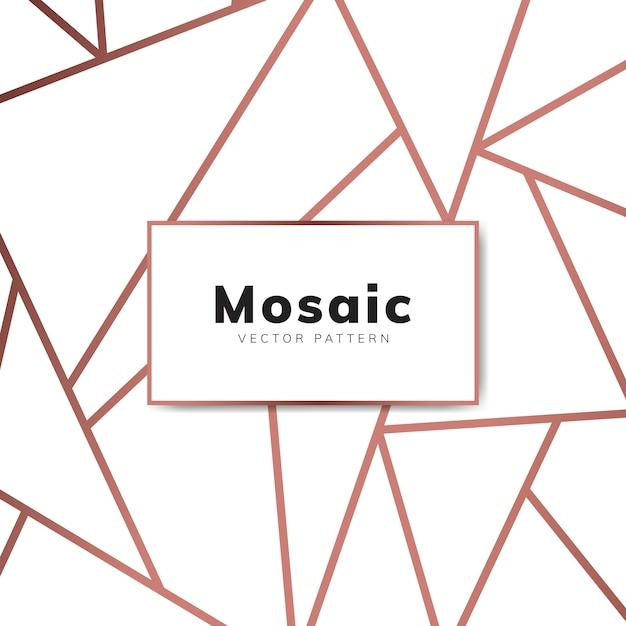Papel de parede moderno mosaico em ouro rosa e branco Vetor grátis