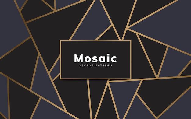 Papel de parede moderno mosaico em preto e dourado Vetor grátis