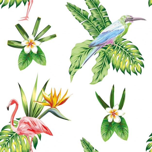Papel de parede padrão sem emenda com flores de pássaros tropicais e plantas Vetor Premium