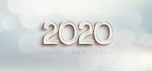 Papel de parede prata ano novo 2020 Vetor grátis