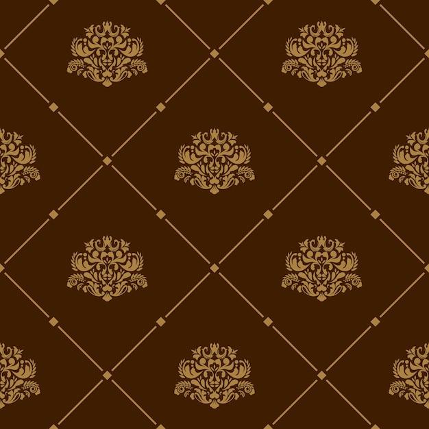 Papel de parede real sem costura padrão floral em fundo marrom Vetor grátis