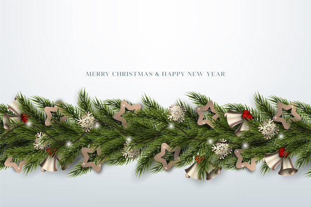 Papel de parede realista de enfeites de natal Vetor grátis