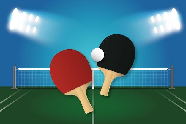 Papel de parede realista de tênis de mesa Vetor grátis