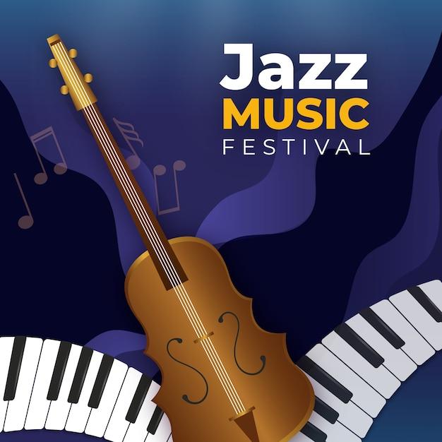Papel de parede realista dia internacional do jazz Vetor grátis