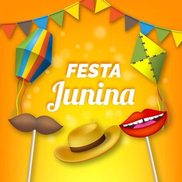 Papel de parede realista festa junina Vetor grátis
