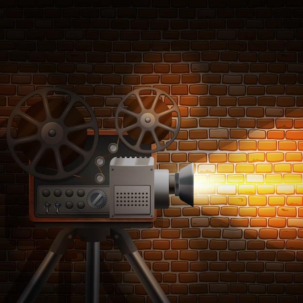 Papel de parede retrô filme com projetor realista Vetor grátis