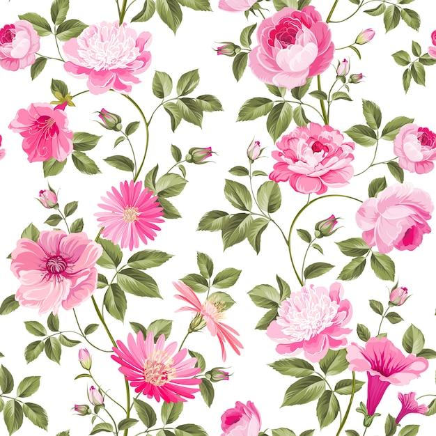 Papel de parede sem costura floral de rosas. Vetor Premium