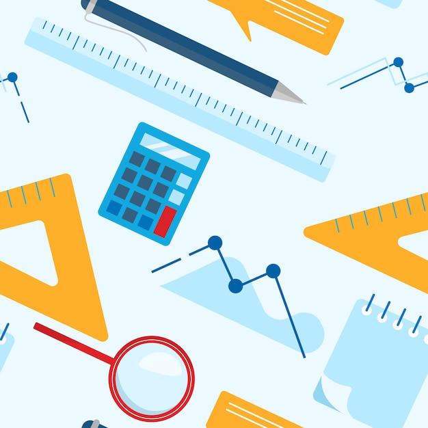 Papel de parede sem emenda do teste padrão do negócio leigo liso com bloco de notas, calculadora, régua, vidro da lente de aumento, pena de esferográfica, carta, gráfico. Vetor Premium
