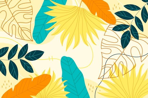 Papel de parede tropical colorido com espaço vazio Vetor grátis