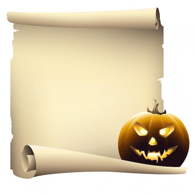 Papel de pergaminho de dia das bruxas com copyspace, desenho vetorial Vetor Premium