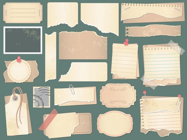 Papel de scrapbook antigo. páginas de papéis amassados, papéis de scrapbooks vintage e ilustração de sucatas de álbuns de fotos retrô Vetor Premium