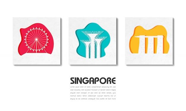 Papel de viagem e viagem global de marco de singapura com modelo de texto Vetor Premium