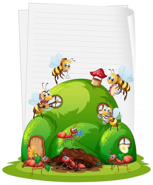 Papel em branco com ninho de formigas e abelhas Vetor Premium